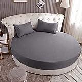 HPPSLT Protector de colchón Acolchado - Microfibra - Transpirable Colchón de Cama Redondo de una Pieza Full Redondo-Gris Oscuro_1.5m