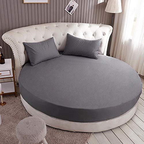 HPPSLT Protector de colchón, con Aloe Vera, (Todas Las Medidas) Cama Redonda de algodón para Hotel-Gris Oscuro_2.2m