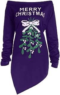 UONQD Women Christmas Tree Print Letter Dress,Merry Christmas Long Sleeve Party Dresses