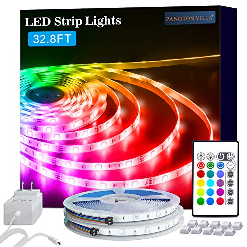 PANGTON VILLA Led Strip Lights 32.8 ft for Bedroom, Room RGB Color kit with Remote and Power Supply