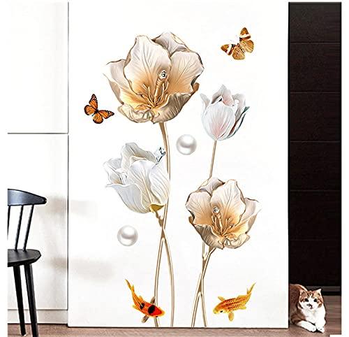 Etiqueta engomada del tulipán Etiqueta de la pared Papel pintado de la mariposa Decoración del dormitorio de la sala de estar Etiqueta de la pared 3d Etiqueta de la pared 65 * 105 cm