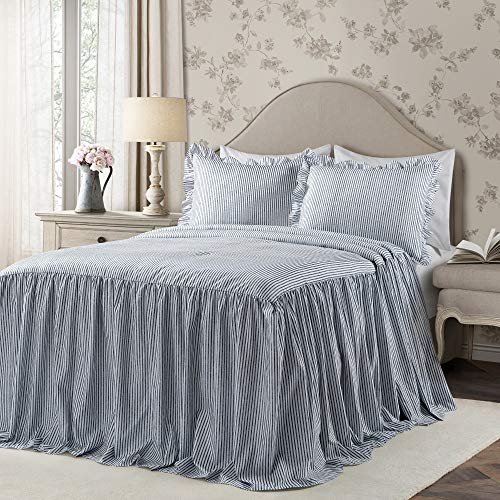 Lush Decor Navy Ticking Stripe Bedspread Shabby Chic Farmhouse Style Lightweight 3 Piece Set Queen
