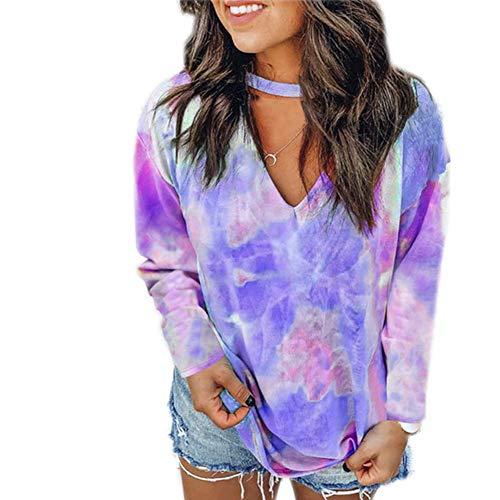 Herbstdruck Tie-Dye V-Ausschnitt Langarm Plus Size T-Shirt Damen Top
