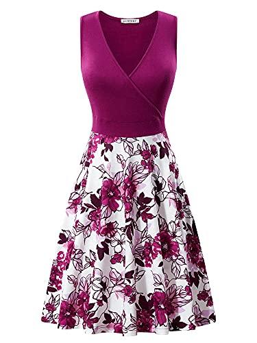 GUBERRY Women's Sundress V Neck Wrap Floral Midi Pocket Business Spring Dresses