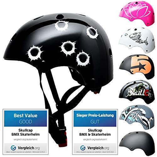 SkullCap BMX & Casco per Skater Casco - Bicicletta & Monopattino Elettrico, Design: Bullets, Taglia: 53-55 cm