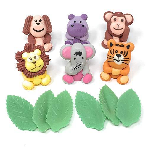 Barefoot Baker Safari Animal Edible Cake Toppers with Lion, Tiger, Elephant, Hippo, Monkey & Dog