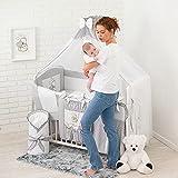 Bello24 - 19 Teiliges Babybett Kinderbett und Bettwäsche komplett Set TIMI mit intrigierten rausfallschutz höhenverstellbar für Neugeborene Babys und Kleinkinder (Grau)