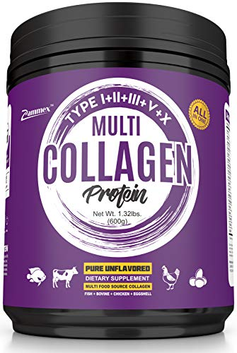 Multi Collagen Protein Powder 21oz Best Value - High-Quality Blend of Grass-Fed Beef, Wild Fish, Patent Formula-TendoGuard™-Chicken, Eggshell Collagen Peptides, All Natural Type I, II, III, V and X.