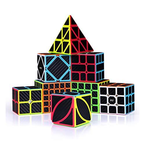 YYBF Speed Cube Set, Paquete De Cubo De Rompecabezas De Fibra De Carbono, Juego De Cubo Mágico, 2X2 3X3 4X4 Pyraminx Pyramid Puzzle Cube Juguete para Niños Adultos, Paquete De 8
