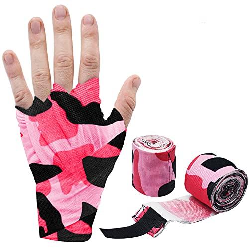 YNR Guantes de boxeo con cierre extra ancho, protector de muñeca para hombres y mujeres y niños, ideal para artes marciales mixtas, boxeo, gimnasio, fitness (camuflaje rosa)