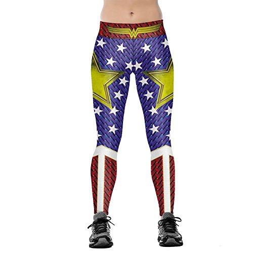 Xize Women 3D Printed Wonder Workout Fitness Leggings Slim Yoga Pants High Waist Gym Running Sport Push Up Tights, Blue, X-Large