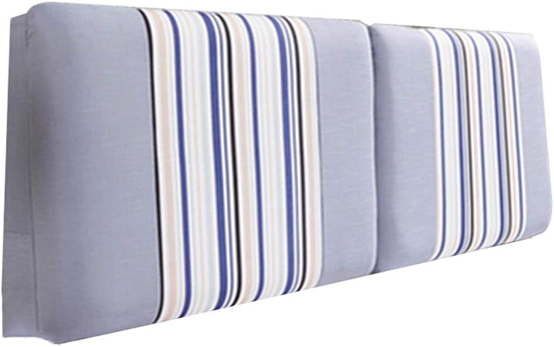 WENZHE Upholstered Headboard Pillow Bedside Cushion Wedges Backrest Waist Pad Cloth Soft Case Home Lounge Sponge Backrest, 4 colors, 7 Sizes (color   D, Size   120X60cm)