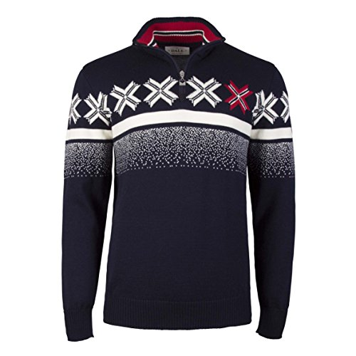 Dale of Norway Men's Masculine Olympic Passion 100% Skinsoft Merino Wool Sweater (Navy, X-Large)