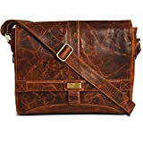 Genuine Leather Messenger Bag for Men and Women - 14 inch Laptop Bag for College Work Office by LEVOGUE (VINTAGE COGNAC)