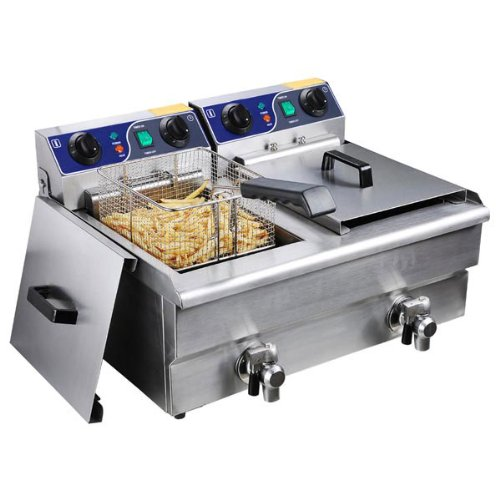 Commercial Deep Fryer: Stainless Steel Electric Counter Top Fryer with Drain (Multiple Sizes) (Dual Tank)
