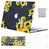 MOSISO MacBook Air 13 inch Case(A1369 A1466, Older Version 2010-2017 Release),Plastic Pattern Hard Case&Keyboard Cover&Screen Protector&Storage Bag Compatible with MacBook Air 13, Sunflower Black Base