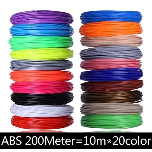 NOLOGO La Pollution de PLA 10 3D stylosanthes 20D 3D en Couleur Matériau Filament Plastique imprimé Cadeau d'anniversaire for Enfants Silk Material (Color : ABS 200M 20 Colors)