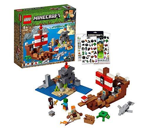 LEGO Minecraft 21152 El barco pirata + 1 de cada 2 hojas de pegatinas Minecraft