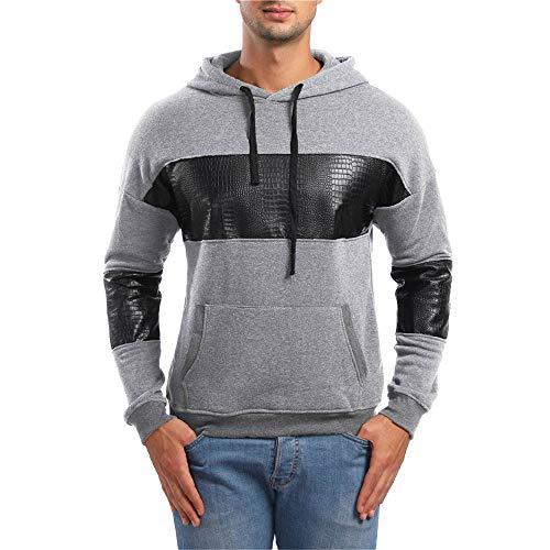Coloré(TM) Sweater Homme Automne Hiver Tops À Manches Longues Veste Manteau Couleur Unie Sweats Encapuchonné Sweat-Shirt À Capuche Chemisiers Pull Sweatshirts Sweats de Hoodie (M, Gris)