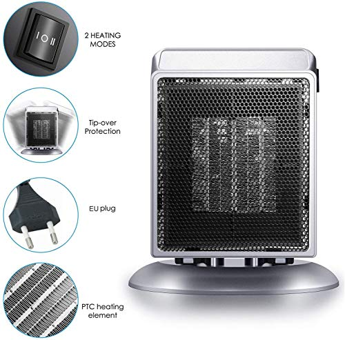 2020 Elektrische Tragbare Heizung Tragbare raumheizung Keramik mini Heizlüfter mit Oszillationsfunktion,Überhitzung- und Neigung-Sicherheitssystem Kleines Heizgerät für Haus,Büro,Badezimmer Heizlüfter
