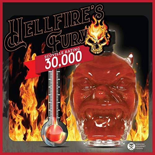 Modern Gourmet Foods, Set de Regalo Salsas Picantes Hellfires Fury, Tarro de Cristal con Forma de Cabeza de Diablo rellena de Salsa Picante