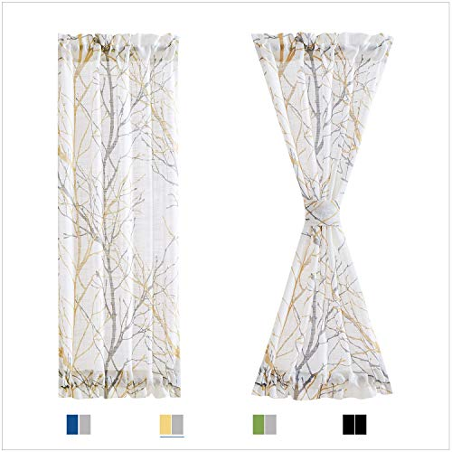 "Fmfunctex Sidelight French Door Panels 24""x72 White Semi-Sheers, Yellow and Grey Tree Branch Print Curtains for Glass Doors Tieback Included 2 Panels"