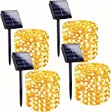 Super Bright 4-Pack 400 LED Solar String Lights Outdoor (Upgraded Larger LED Beads), Waterproof Solar Christmas Lights Outdoor 8 Modes Solar Fairy Lights for Garden Patio (Warm White)