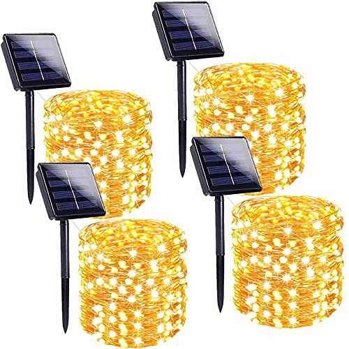 Super Bright 4-Pack 400 LED Solar String Lights Outdoor (Upgraded Larger LED Beads), Waterproof Solar Lights Outdoor 8 Modes Solar Fairy Lights for Garden Patio Party Wedding Christmas (Warm White)