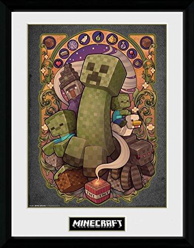 Minecraft 1art1 Creeper Nouveau Gerahmtes Bild Mit Edlem Passepartout | Wand-Bilder | Kunstdruck Poster Im Bilderrahmen 40 x 30 cm
