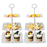2 Set of 3-Tier Cupcake Stand Fruit Plate Cakes Desserts Fruits Snack Candy Buffet Display Tower Plastic White for Wedding Home Birthday Tea Party Serving Platter (Square)
