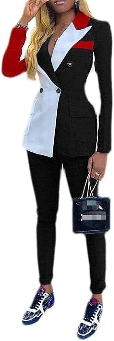 Women Pants Jacket Color Block Work Long Sleeve Blazer 2PCS Suit Sets,Black,Large
