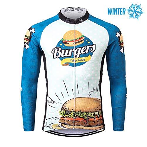 Thriller Rider Sports® Herren Burgers Sport & Freizeit MTB Fahrradbekleidung Radtrikot Langarm Thermisch Warm Jacke Large