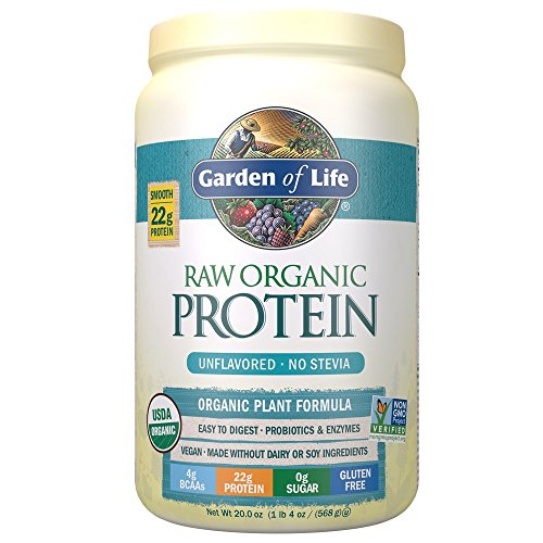 Garden of Life Raw Organic Protein Unflavored Powder, 20 Servings, Certified Vegan Gluten Free Organic & Non-GMO, Plant Based Sugar Free Protein Shake with Probiotics & Enzymes, 4g BCAAs, 22g Protein