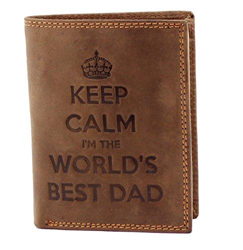 StarHide KEEP CALM I'M THE WORLDS BEST DAD Cartera De Cuero Genuina De Los Cazadores Del Apenado De Los Hombres Con Un Monedero - Regalo Encajonado #705