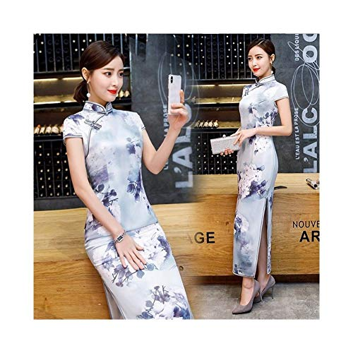 Cheongsam Manga corta de primavera y verano largo retro cheongsam doble capa de seda cheongsam auto-cultivo Mejora Diaria cheongsam vestido (Color : 40, Size : S)