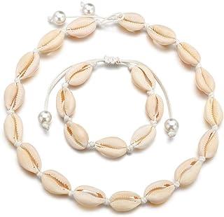 Timetries Cowrie Shell Choker Necklace for Women Seashell Strand Bracelets Summer Hawaiian Jewelry Set Beads White Chain