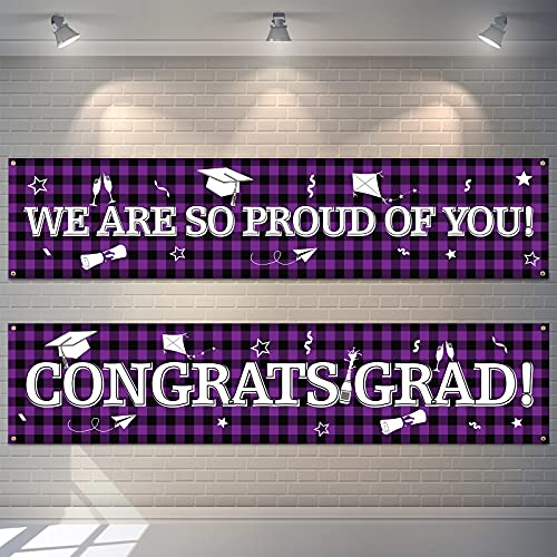 2 Pieces Graduation Party Backdrop Banner Decoration Buffalo Plaid Graduation Hanging Banners Large Fabric Congrats Grad Sign Banner We are So Proud of You Background Banner for Photo Booth (Purple)