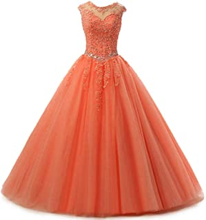 Lace Appliques Ball Gown Evening Prom Dress Beading Sequined Quinceanera Dresses Long 2018 H152