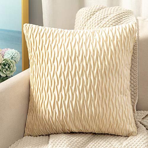 Metagio - Juego de 2 fundas de cojín cuadradas de terciopelo liso para dormitorio, sofá, coche, oficina, 45 x 45 cm (blanco marfil)