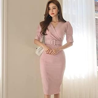ABDKJAHSDK Summer New V-Neck Short-Sleeved Women'S Slim Dress Pink