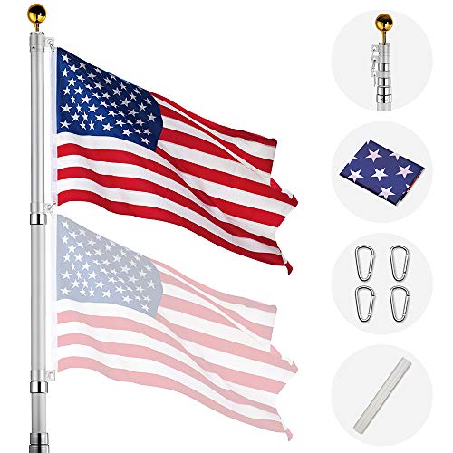Yeshom 20ft Telescopic Aluminum Flag Pole Free 3'x5' US Flag & Ball Top Kit 16 Gauge Telescoping Flagpole Fly 2 Flags