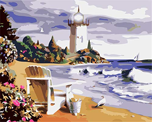 ATggqr Puzzle 1000 Pcs Coast lighthouse landscape 50x75cm Jigsaw Puzzle Home Games Large Size Games and Toys for Family, Friends, Grown UPs, Childrens