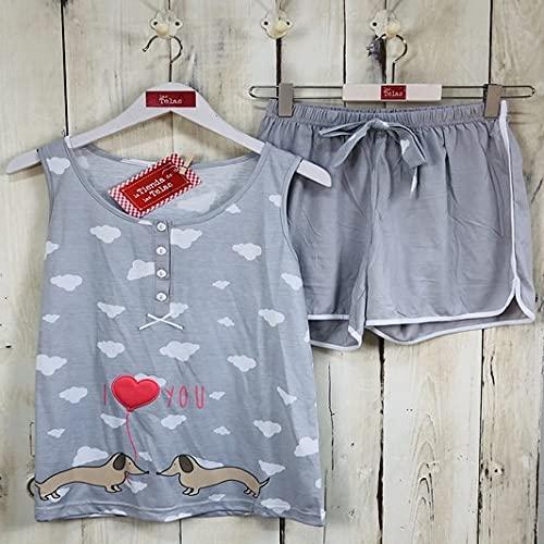 Pijama Mujer Verano Estampado Perro y Nubes Gris (XL - Talla 42)