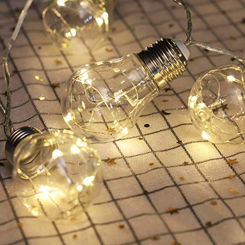 AITOO Solar Outdoor Light Bulbs - Solar Powered - 10 Bulbs 50 Wire String Light LEDs - Waterproof 8 Modes for Home Patio Yard