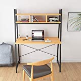 <span class='highlight'><span class='highlight'>Hironpal</span></span> Computer Desk Table Home Office Desk Table Study Desk with Shelf For Bedroom Living Room Small Spaces Metal Frame (New Beech)