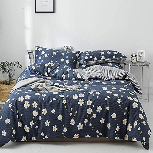 VCLIFE Cotton Duvet Cover Sets Queen, Modern Yellow White Daisy Flowers and Stripe Design Bedding - 1 Duvet Cover 2 Pillow Cases, Navy Blue Gray Bedding Sets Full, Hotel Bedding Collections