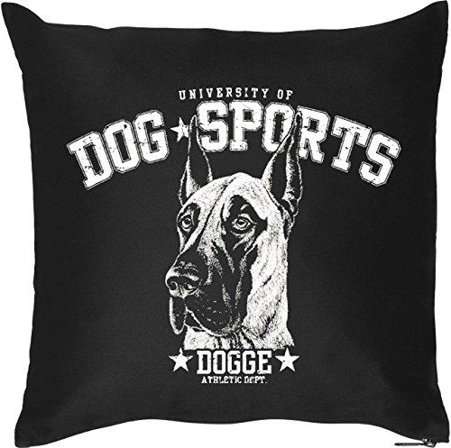 Schöner Hunde Kissenbezug in schwarz: DOG SPORTS - Dogge, für Hundefans, Hundeschulen und fürs Körbchen