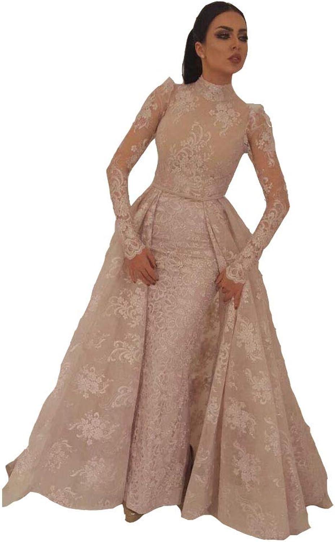 Seasail Muslim Evening Dress 2019 Mermaid High Collar Illusion Long Sleeves Evening Gown