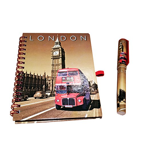 Klassieke Big Ben Klok en Routemaster London Double Decker Bus Notebook en Bijpassende Pen! Sepia London GB UK Note boek Kladblok Kladblok Note Pad ! Souvenir/Speicher / Memoria! Modieus, Cool British Souvenir! Een uniek en gedenkwaardig geschenk! Carnet, Notizbuch, Taccuino, Cuaderno.