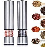 Tebery 2 unidades Juego de molinillos de sal y pimienta eléctricos acero...
